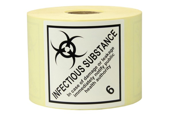 "Gefahrgut-Etiketten aus Papier, ""Infectious Substance"", Kl. 6.2"